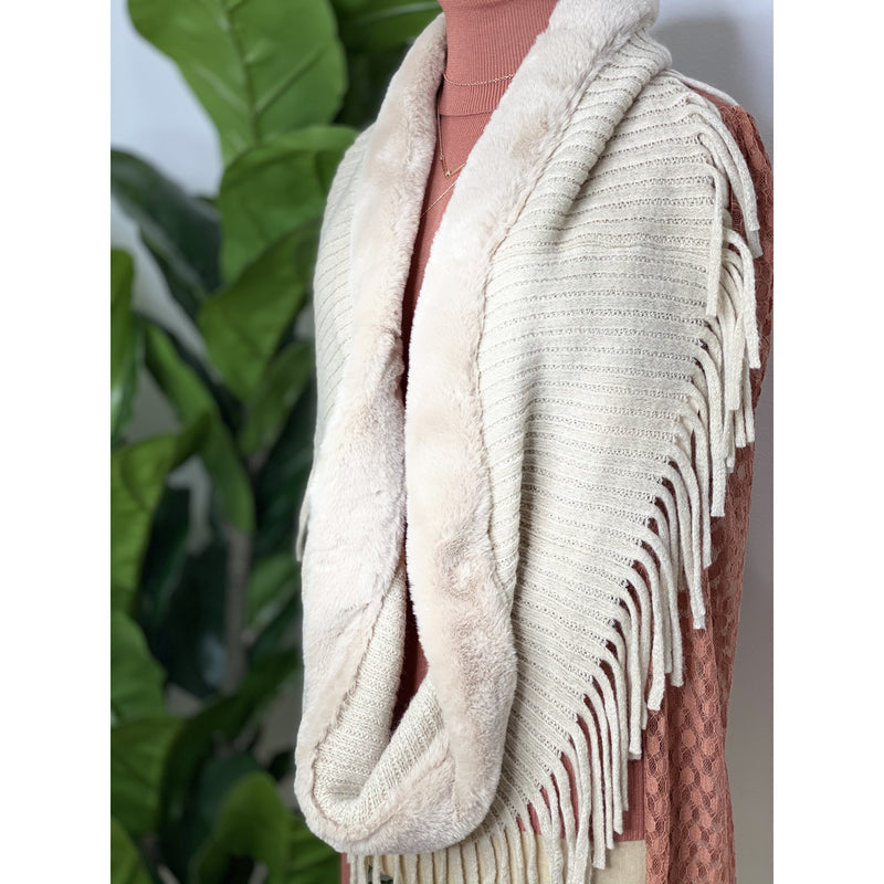 A14 Beige Faux Fur Fringe Accent Infinity Scarf