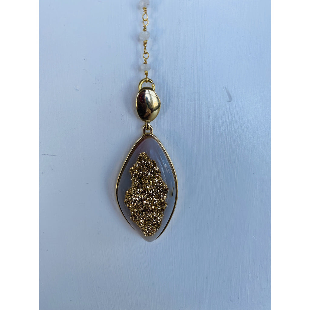 "968 Gold Encrusted Druzy Dipped Quartz Beaded .925 Sterling Silver Gold 16"" w/ 6"" Drop Rosary Necklace"