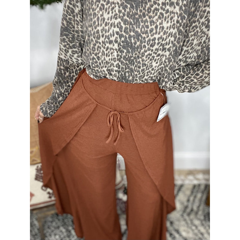 893 Rust Ribbed Knit Flare Pants