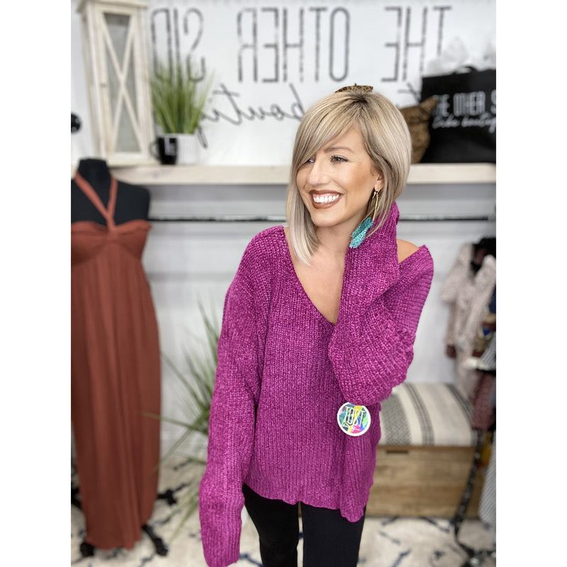 168 Magenta Chunky Chenille Knit Pullover