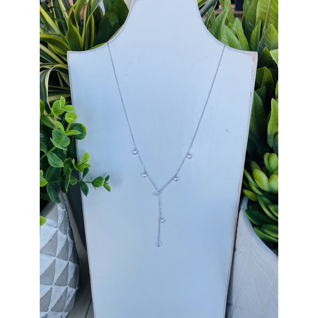"818 Clear Quartz .925 Sterling Silver 30"" + 2"" Extension Lariat Necklace"