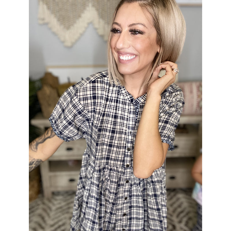 256 Navy Plaid Puff Sleeve Tunic