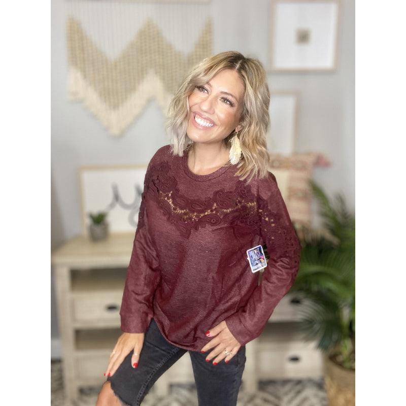 362 Burgundy Round Neck French Terry Pullover