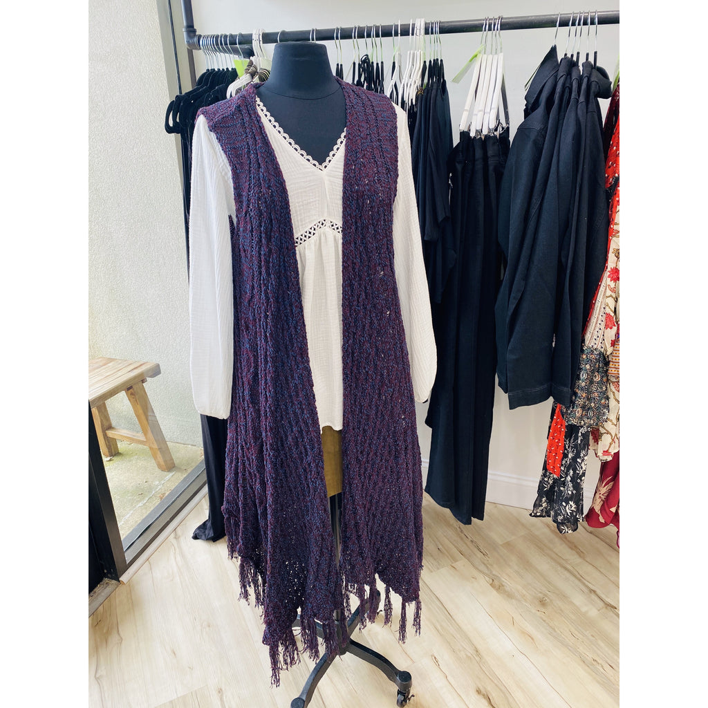 Purple/Navy Cable knit long midi front slvls knit cardigan
