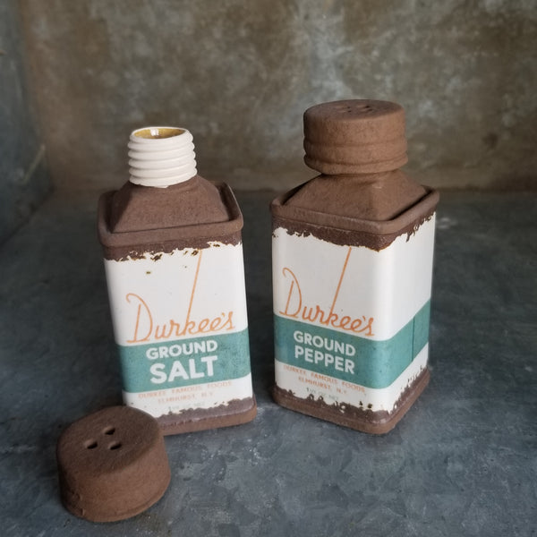 "Porcelain ""Durkee's"" Salt and Pepper Shaker Set"