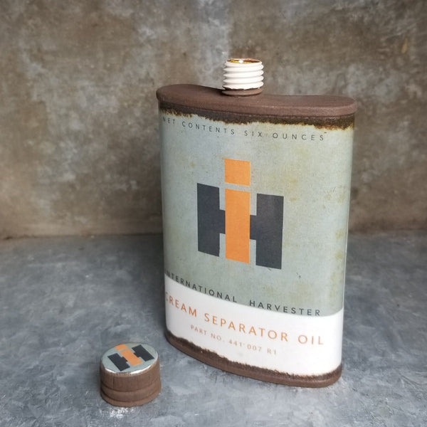 "Porcelain ""International Harvester"" Flat Top Flask 6oz"