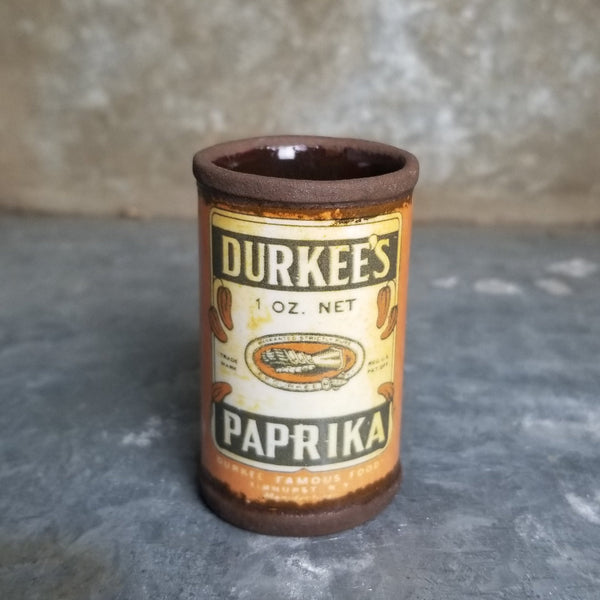 "Porcelain ""Durkee's Paprika"" Shot Glass 1oz"