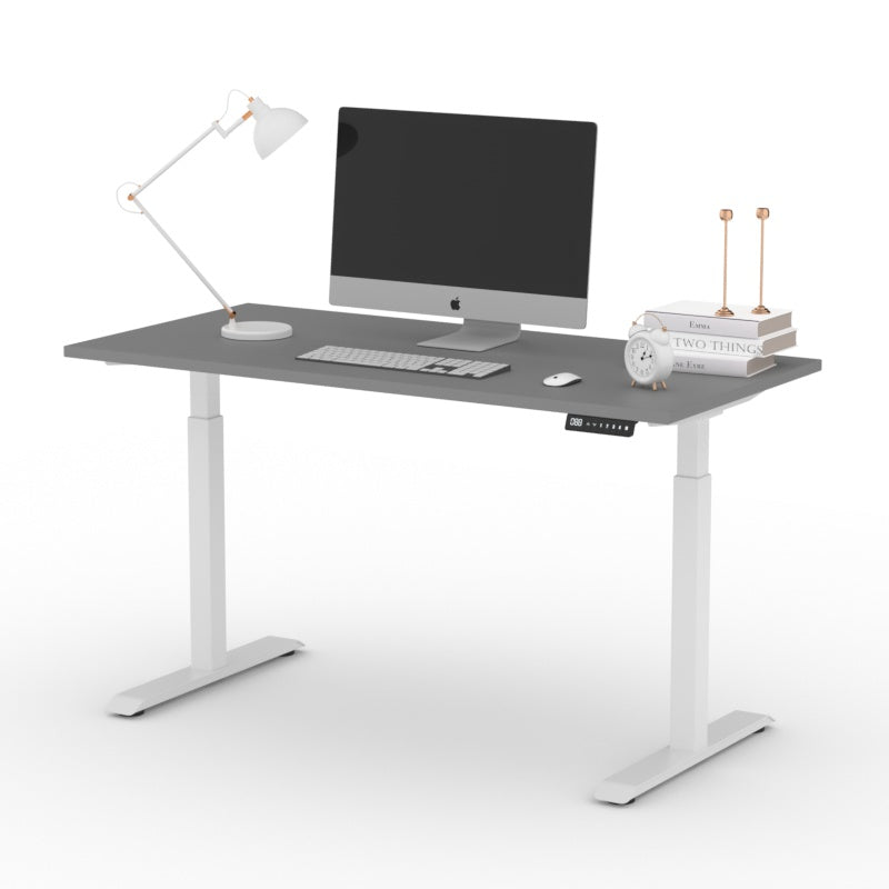 AiTerminal's White Minimalist Pro Standing Desk Frame for DIY. Powerful lift system. Smooth & sturdy.