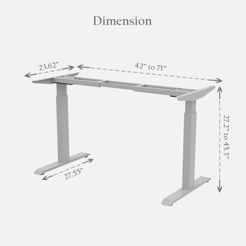 Electric Height Adjustable Standing Desk Frame with Dual Motor 2-Stage Legs (Frame Only) (5316173627547)