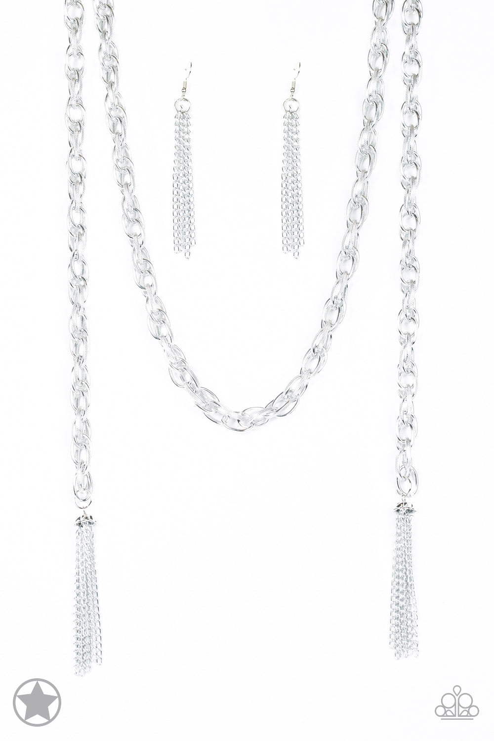 SCARFed for Attention - Silver Necklace - Paparazzi Accessories - The Bling Peddler