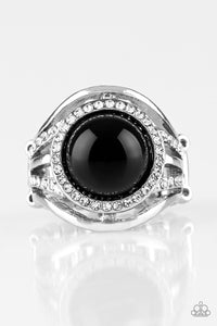 Pampered In Pearls- Black Ring- Paparazzi Accessories - The Bling Peddler