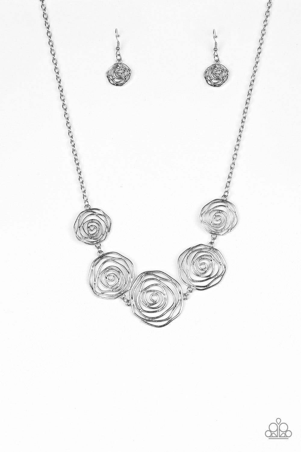 Rosy Rosette - Silver - Paparazzi Accessories - The Bling Peddler