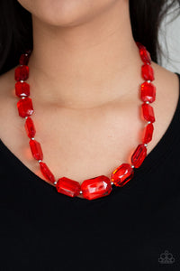 ICE Versa - Red Necklace - Paparazzi Accessories - The Bling Peddler