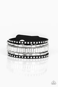 Rockstar Rocker - Black Leather Bracelet - Paparazzi Accessories - The Bling Peddler
