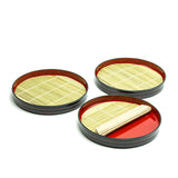 "Soba Tray Stackable 3pc Set 9"", Black/Red"