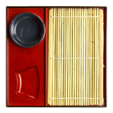 Soba Zaru Set for 1 - Bamboo Mat, Tray, and Bowl, Black/Red