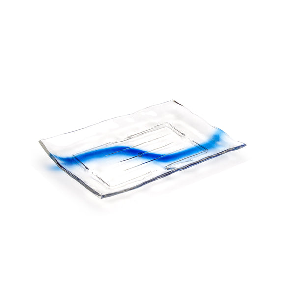 Clear Blue Streak Plastic Rectangular Plate 12
