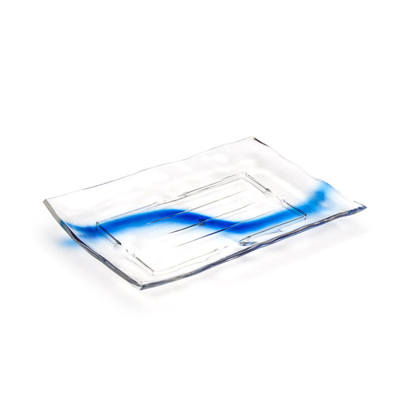 Clear Blue Streak Plastic Rectangular Platter 14