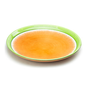 "Round Melamine Plate 15-1/2"" Orange/Green"