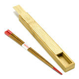 Wooden Chopstick w/ Case, Red