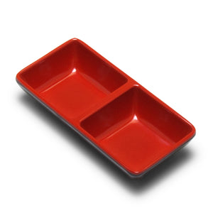 "Melamine Rectangular Twin Sauce Dish 5.75""x2.75"", Black/Red"