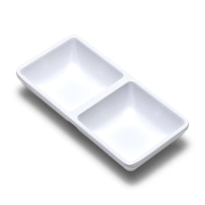 "Melamine Rectangular Twin Sauce Dish 5.75""x2.75"", White"