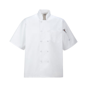 Short Sleeved Chef Coat w Plastic Button, White, Large