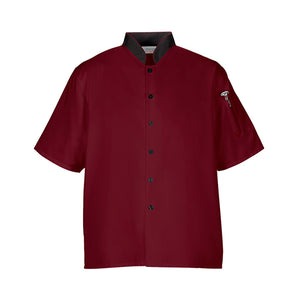 Euro Lightweight Chef Coat Shirt M/L/XL - Burgundy/Black