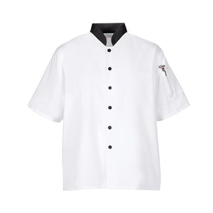 Euro Lightweight Chef Coat Shirt M/L/XL - White/Black