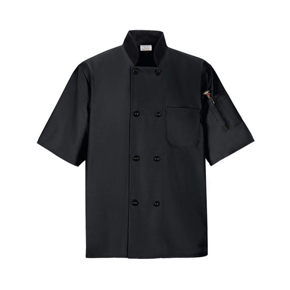 Short Sleeved Chef Shirt w Pockets, Black, Medium