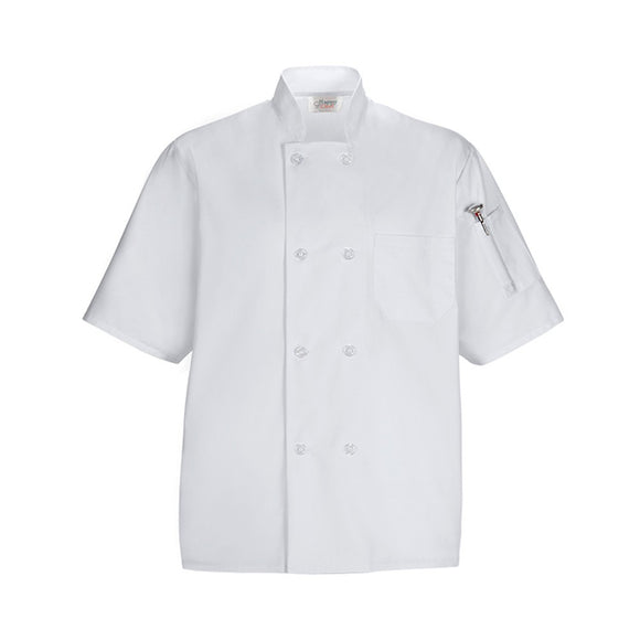 Short Sleeved Chef Shirt w Pockets, White, Medium