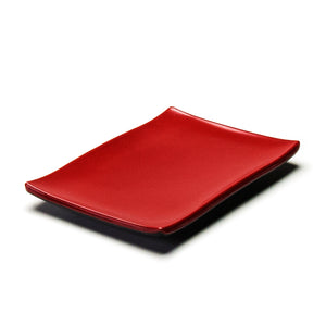 "Melamine Rectangular Plate 8-3/8""X5-5/8"", Black/Red"