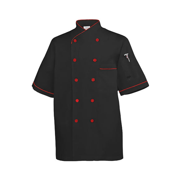 Chef Shirt Euro Style, Black w Red Trim - S/M/L/XL