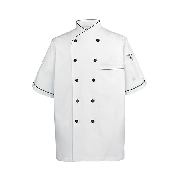 Chef Shirt Euro Style, White w Black Trim - S/M/L/XL