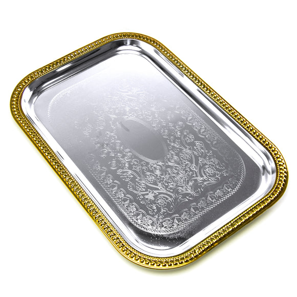 Silver/Gold Luxury Cater Tray 20-1/2X14