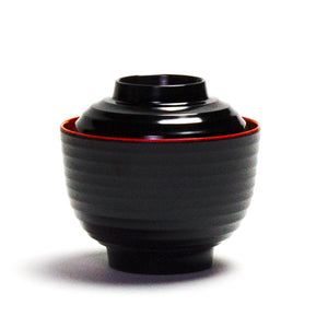 "Melamine Miso Soup Bowl with Cover 3-3/4"", Black/Red"