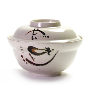"Melamine Round Udon Bowl with Cover 6"", Eggplant"