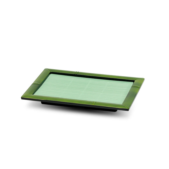 Lacquer Soba Tray w/Plastic Mat, Green