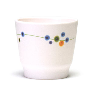 "Melamine Teacup 3""H, Rain Flower"