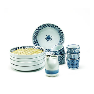 Soba Plates & Cup Set, Serving for 5, Blue/White