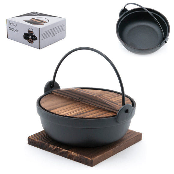 Iron Nabe Pot w/ Wooden Lid and Base 6.75