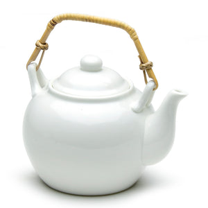 "Tea Pot 4 1/2"", White Ceramic"