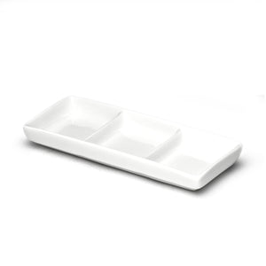 "3-Compartment Sauce Plate 6""x2-1/2"", White Ceramic"