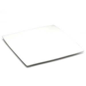 "12-3/4"" Flat Square Plate , White Ceramic"