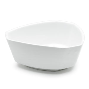 "5-1/4"" Irregular Bowl, White Ceramic"