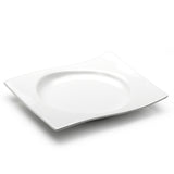"10""x8-1/2"" Wavy Rectangular Coup Plate, White Ceramic"