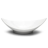 "12-1/2""x6-1/4"" Leaf-Shape Bowl, White Ceramic"