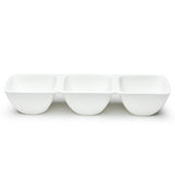 "3-Compartment Square Bowl 15"", White Ceramic"