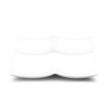 "4-Compartment Square Plate 11-1/2"", White Ceramic"
