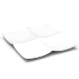 "4-Compartment Square Plate 13-1/4"", White Ceramic"